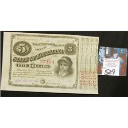 1875 $5 Louisiana Baby Bond w/4 Coupons Fully Issued