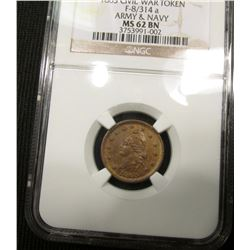 "1863 CWT ""Army & Navy"" Attractive Tone NGC 62BN #3753991-002"
