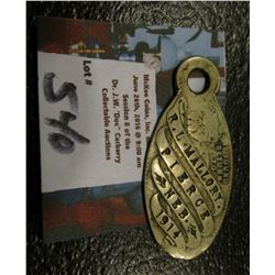 1914 Original Nebraska Dog Tag w/Pic of Bulldog & Owner ID Scarce & Neat!