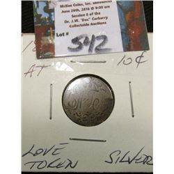 "18-- Seated 10C Silver Love Token Fancy Scrollwork Old English ""AT"""