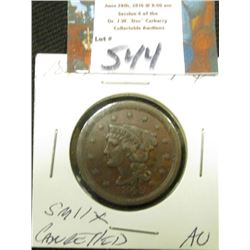 1849 Large C AU Brown w/Thin Shallow Cancellation x in Obv. Field