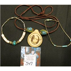 (3}Navajo Hand Made Turquoise/Shell Bracelets & Necklace