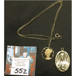 .925 Sterling Silver Heavy Double-Sided Religious Medal & Cut out Merc. 10C w/Chain{2Pcs}