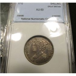 1712 Silver Shilling Great Britain NNC AU50 #2166580 Rare Catalogs @ $750 in XF
