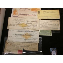 "Group of Scrip & Old Checks, etc. from Missouri dating back to 1882. Includes a 1900 ""American Car C"