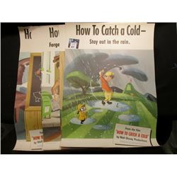 "(6) Different 14"" x 20"" Posters from the Walt Disney Production ""How to Catch a Cold""."