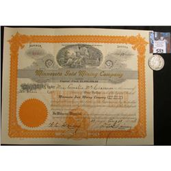 "1918 Stock Certificate ""Minnesota Gold Mining Company"" 10 Shares, very attractive lithograph of Mine"