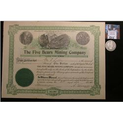 "1902 Stock Certificate ""The Five Bears Mining Company"", Incorporated in South Dakota, 100 Shares ('D"