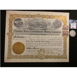 "1902 Stock Certificate ""Feather River Consoidated Mining Company"", Incorporated in South Dakota, 100"