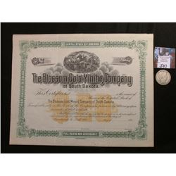 "1890 era Unissued Stock Certificate ""The Blossom Gold Mining Company of South Dakota"", central litho"
