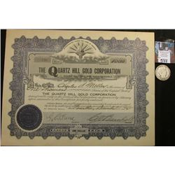 "1912 Stock Certificate ""The Quartz Hill Gold Corporation"", Incorporated in Arizona, 1000 Shares; & 1"