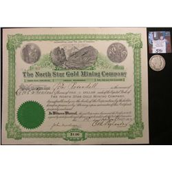 "1902 Omaha, Nebraska Stock Certificate ""The North Star Gold Mining Company"" 1000 Shares, lithographs"