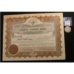 "1918 Arizona Stock Certificate ""Liberty Copper Mines"", 500 Shares; & 1915 S  Barber Half Dollar, Goo"