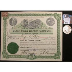 "1901 South Dakota Stock Certificate ""Black Hills Copper Company"", 125 Shares; & 1922 D U.S. Peace Si"