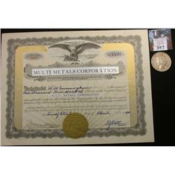 "1940 Wyoming Stock Certificate ""Multi Metals Corporation"", 1,500 Shares; & 1923 P U.S. Peace Silver"