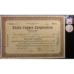 "1925 Idaho Stock Certificate ""Idaho Copper Corporation"", 100 Shares; & 1922 P U.S. Peace Silver Doll"