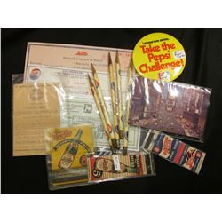 Pepsi Cola Advertising Pieces, Match Books, Pencils, Post Cards, Checks and Receipts. (15) items.