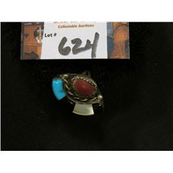 Ladies Indian Sterling Silver Turquoise, Mother-of-Pearl, Onyx, & Coral Ring.