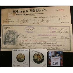"1908 Clinton, 1908 Mapleton, Iowa Bank Checks; ""16 Pages of Comics Saturday Chicago American"" Pin-ba"