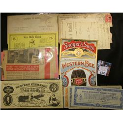 Two different Nebraska Cigar Box Labels in near Mint condition; & several other pieces of Nebraska m