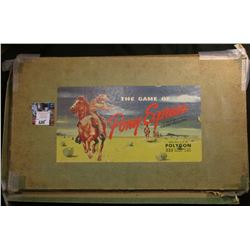 "1947 ""The Game of Pony Express"" with scrip and lead figurines, etc. Box in rough shape."