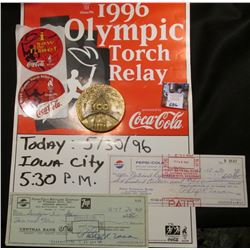 "Atlanta 1996 sign used in Iowa City, Iowa ""1996 Olympic Torch Relay Presented by Coca-Cola; pair of"