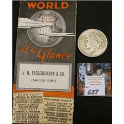 """World at a Glance"" Fold-out World map distributed by ""J.H. Frederickson & Co. Harlan, Iowa""; & 1922"