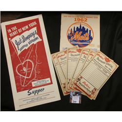 "(6) Peters Weatherbird Solid Leather Shoes advertising cards for Baseball Scoring; ""New York Nationa"