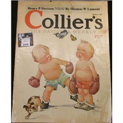"April 15, 1933 ""Collier's The National Weekly"", Cover Art depicts a couple of Toddlers with boxing g"