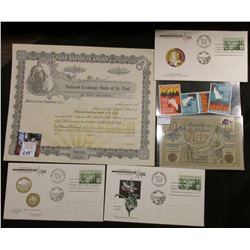 "Unissued Stock Certificate ""National Exchange Bank of St. Paul, Minnesota""; (3) 1958 Stamped Covers"