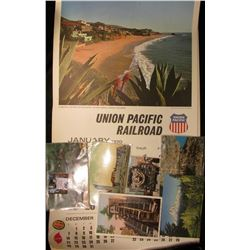 1970 Union Pacific Railroad Calendar, excellent condition; & (6) different old Railroad related Post