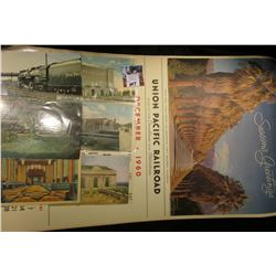 1961 Union Pacific Railroad Calendar, excellent condition; & (6) different old Railroad related Post