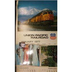 1977 Union Pacific Railroad Calendar, excellent condition; & (6) different old Railroad related Post