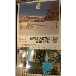 1971 Union Pacific Railroad Calendar, excellent condition; & (6) different old Railroad related Post