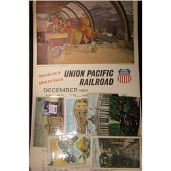 1968 Union Pacific Railroad Calendar, excellent condition; & (6) different old Railroad related Post