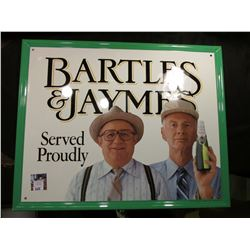 """Bartles & Jaymes Served Proudly"" Tin or metal sign. 17.25"" x 21.5""."