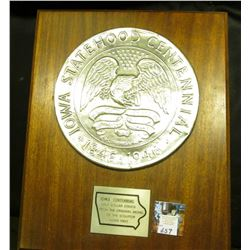 """Iowa Statehood Centennial Half Dollar from the Original Model of the Sculptor Adam Pietz"" mounted o"