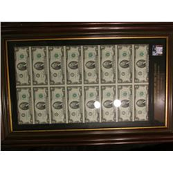 "Series 1976 Un-cut Sheet of (16) $2 Federal Reserve Notes ""Department of the Treasury Bureau of Engr"