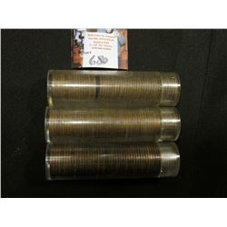 1944 S, 46 S, & 55 D Circulated Rolls of Lincoln Cents in plastic tubes. One maybe short 3 or 4 coin