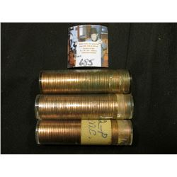 1962 P, 63 P , & D Solid date Rolls of Uncirculated Lincoln Cents in plastic tubes, I have not opene