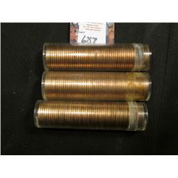 1962 P, 67 P, & 68 S Solid date Rolls of Uncirculated Lincoln Cents in plastic tubes, I have not ope