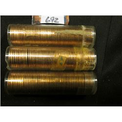 1960 D Large Date, 61 P, & 63 P Solid date Rolls of Uncirculated Lincoln Cents in plastic tubes, I h