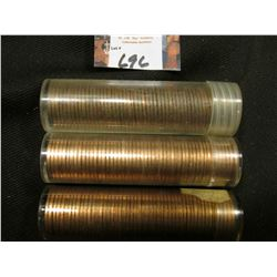 1960 D Large Date, 61 D, & 63 D Solid date Rolls of Uncirculated Lincoln Cents in plastic tubes, I h