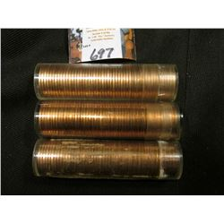 1960 D Large Date, 61 P, & 62 D  Solid date Rolls of Uncirculated Lincoln Cents in plastic tubes, I