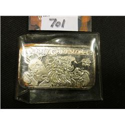 """Merry Christmas"" depicts Santa Claus with a Reindeer, One Troy Ounce .999 Fine Silver Ingot."