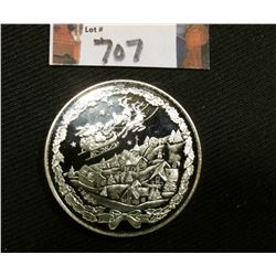"""Merry Christmas Happy New Year One Troy Ounce  .999 Fine Silver"" depicts Santa Claus with sleigh fl"