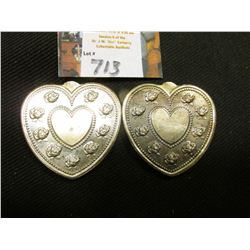 "(2) ""Especially For You .999 Fine Silver One Troy Ounce"", heart-shaped, rose designs."