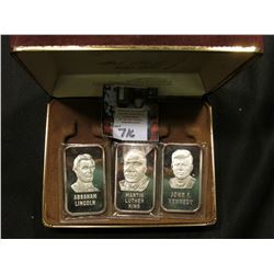 "Three-piece encased Champions of Liberty Set of One Troy Ounce .999 Fine Silver Ingots, ""Abraham Lin"