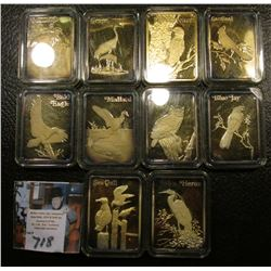 "(10) Different ""Birds of America"" .999 Fine Silver with 24K GEP. Each weighs slightly more than an o"