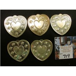 "(5) ""Especially For You .999 Fine Silver One Troy Ounce"", heart-shaped, rose designs."